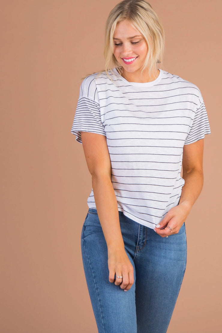 Englebrook Stripe Tee Variable Called to Surf L *FINAL SALE* White