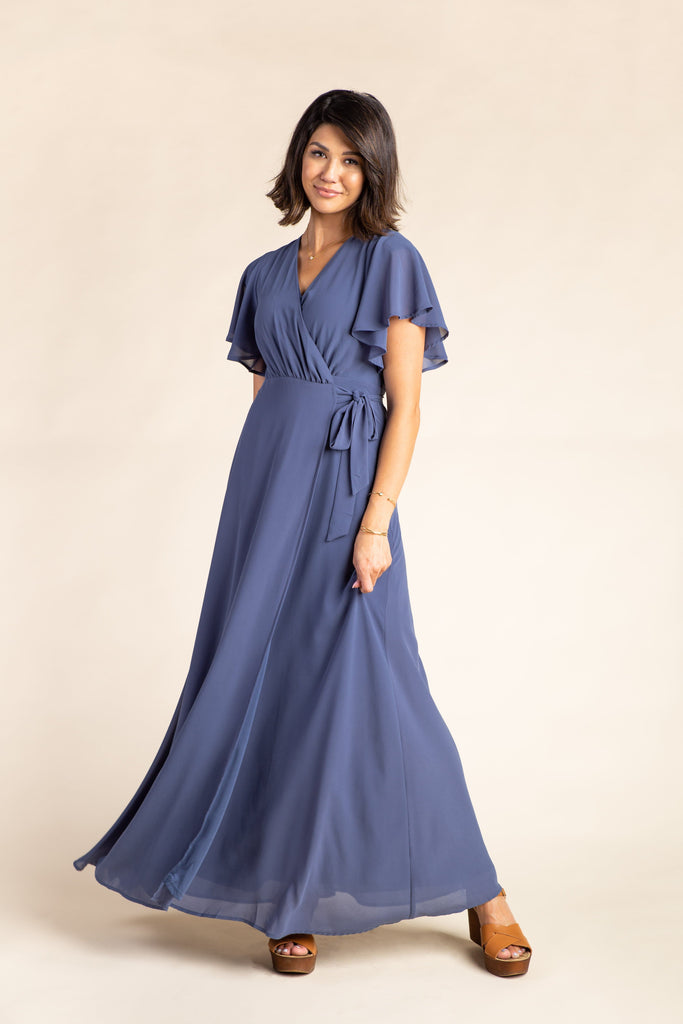 Naples Flutter Sleeve Wrap Maxi 2.0 WOMEN'S DRESS Arbor