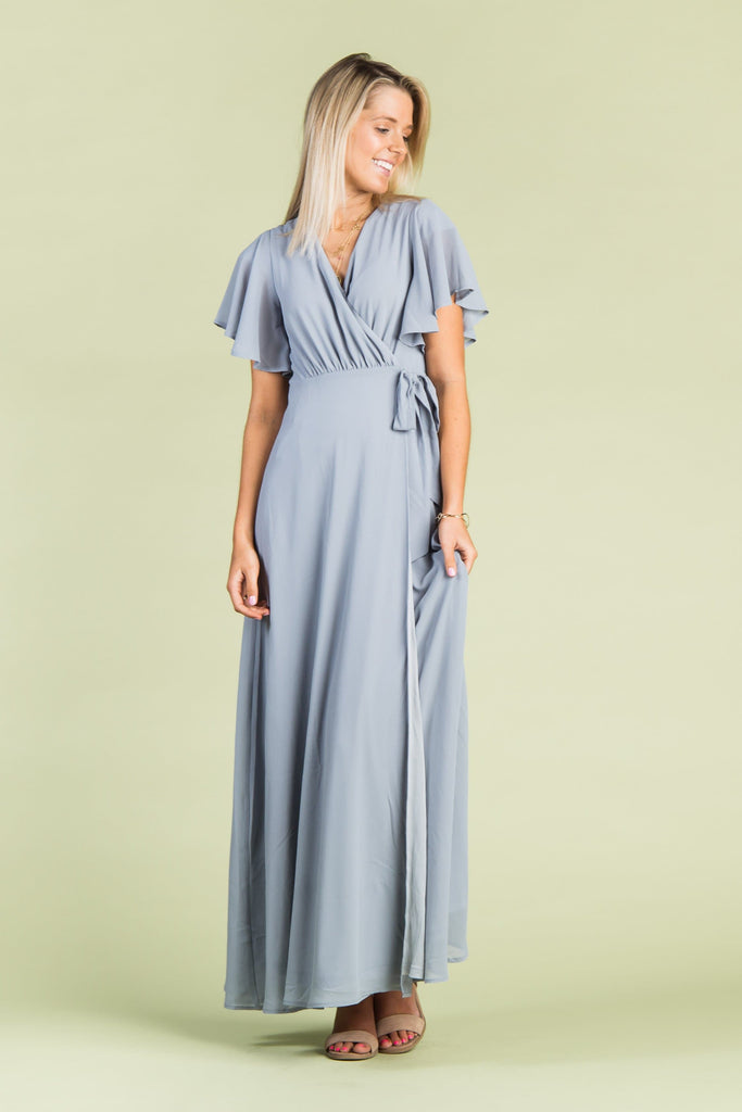 Naples Flutter Sleeve Wrap Maxi 2.0 WOMEN'S DRESS Arbor L Blue Grey
