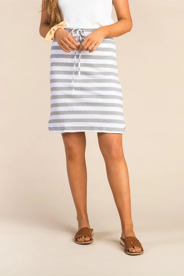 Everyday Thick Striped Knit Skirt WOMEN'S SKIRTS Called to Surf L Charcoal