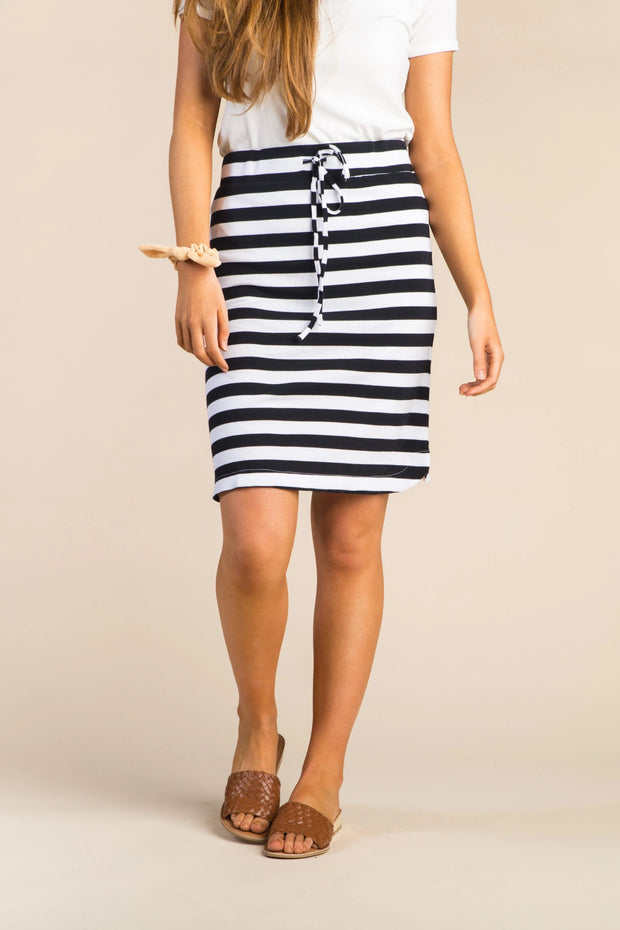 Everyday Thick Striped Knit Skirt WOMEN'S SKIRTS Called to Surf L Blue