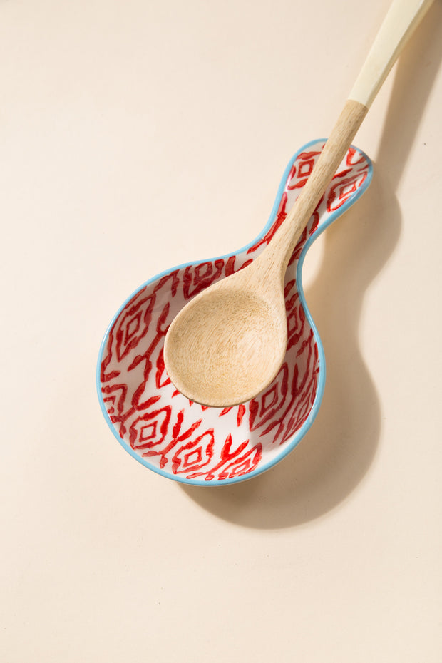 Hand Stamped Spoon Rest - Red/White RED/WHITE BOWL Called to Surf
