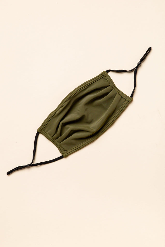 Double Lined Swim Fabric Face Mask Face Mask Called to Surf OS Olive