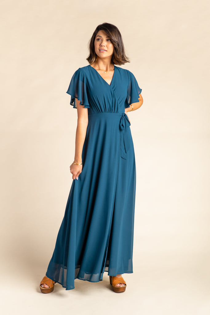 Naples Flutter Sleeve Wrap Maxi 2.0 WOMEN'S DRESS Arbor L Teal Jewel