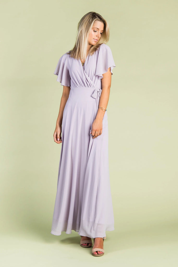 Naples Flutter Sleeve Wrap Maxi 2.0 WOMEN'S DRESS Arbor L Lilac