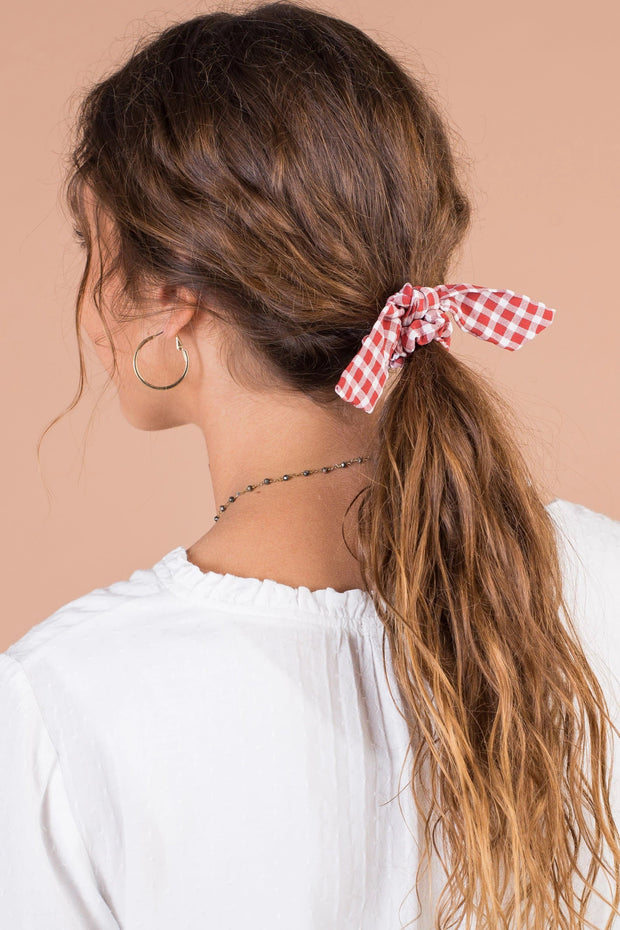 Peyton Gingham Hair Tie Variable Called to Surf ONE SIZE RED