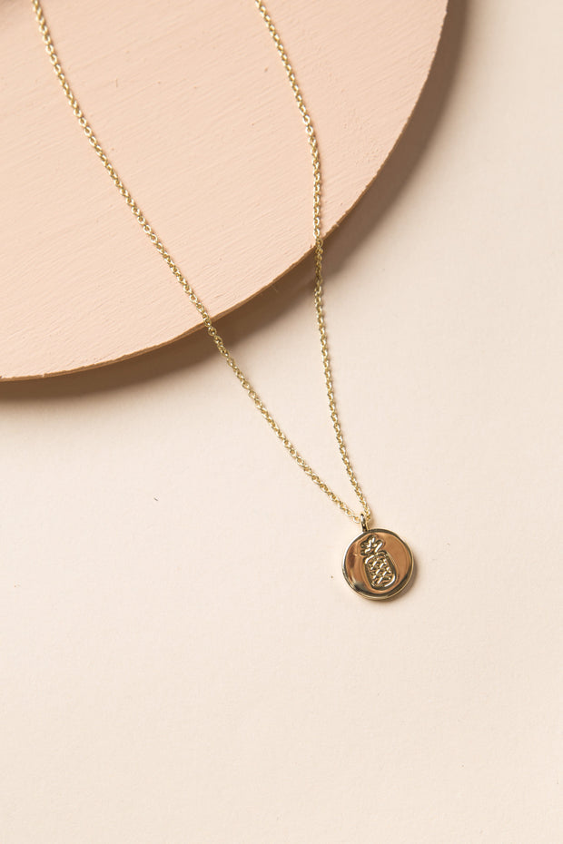 Pineapple Coin Necklace - Gold - OS WOMEN'S JEWELRY Puravida