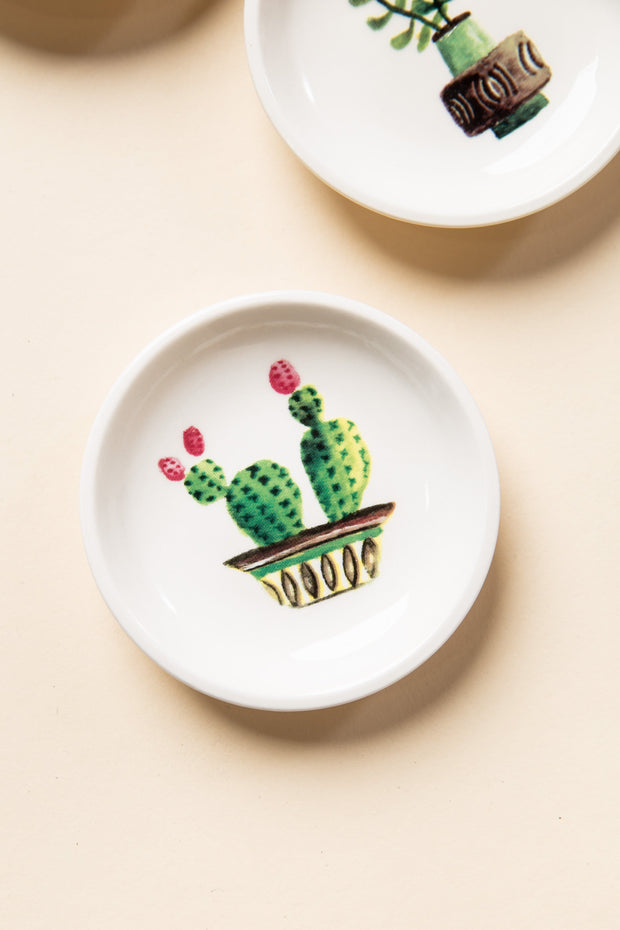 Round Stoneware Dish HOME GOODS Creative Co-Op Double Cactus