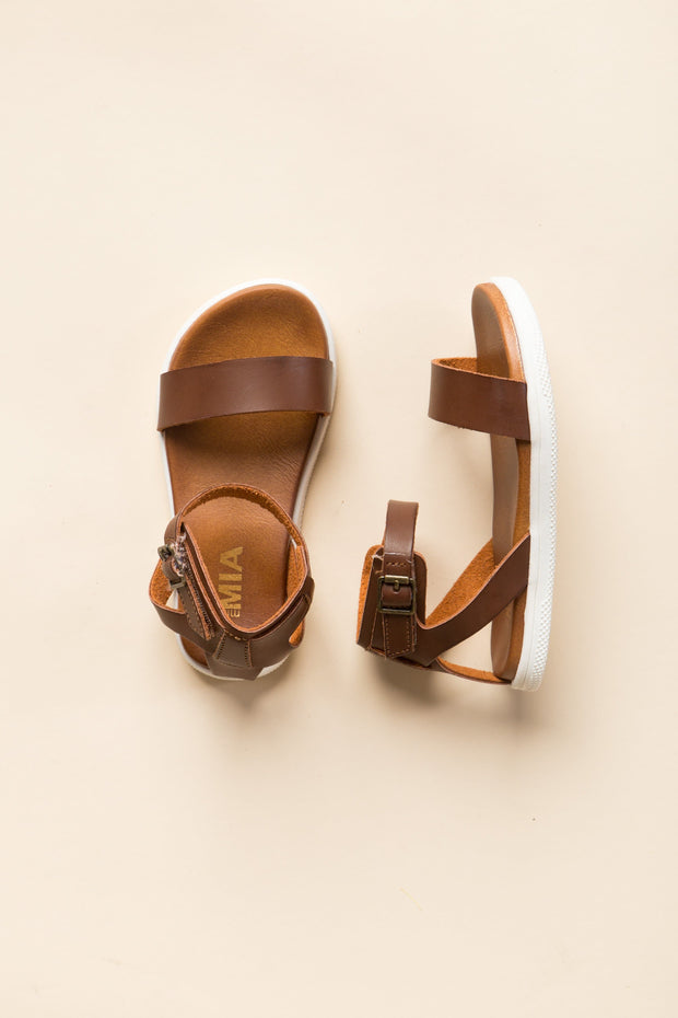 Velcro Buckle Toddler Ellen GIRL'S SANDALS Mia 10 Cognac