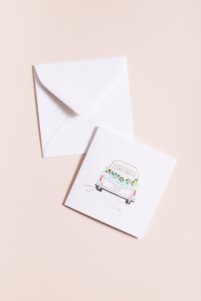 Just Married - White Gift Card CARDS Karen Adams