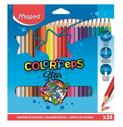 Lápices de coleres Color-Peps Super resistentes C/24 MAPED