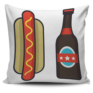 Beer & Hot Dog Pillow Set