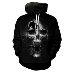 The Geess Army Green / L Men`s Hoodie with 3D Skull print