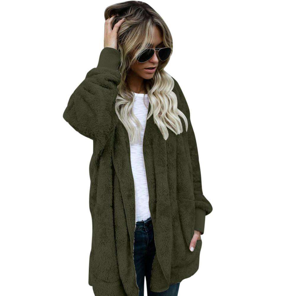 The Geess Army Green / S Women`s Hooded Long Coat Jacket