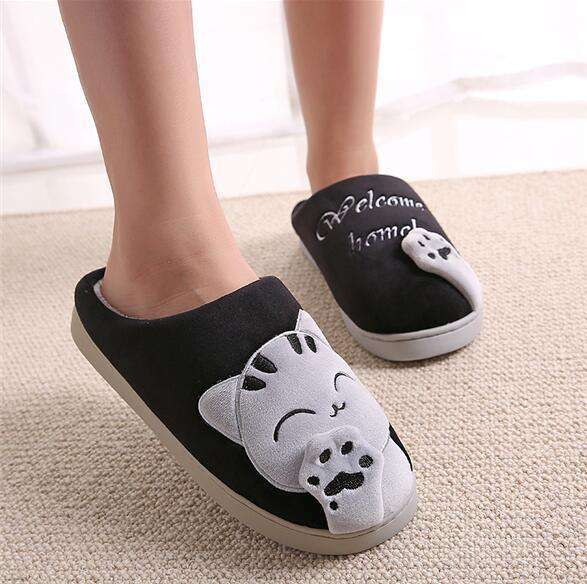 The Geess black / 11 Women Autumn Home Slippers Ladies Cartoon Cat Shoes Non-slip Soft Warm Slippers