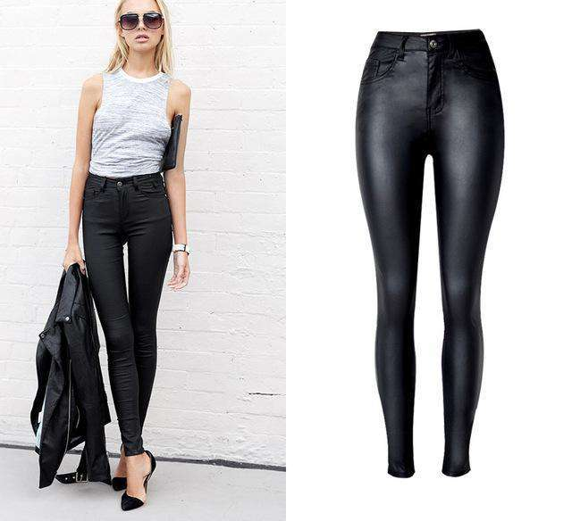 The Geess Black / 34 Women`s Jeans High Waist slim Skinny woman Jeans