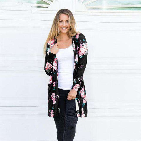 The Geess Black / S Floral Print Basic Cardigan