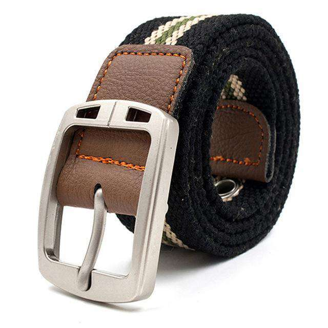 The Geess Black stripe 2 / 110cm Men and Woman`s military belt outdoor tactical belt high quality canvas belts for jeans