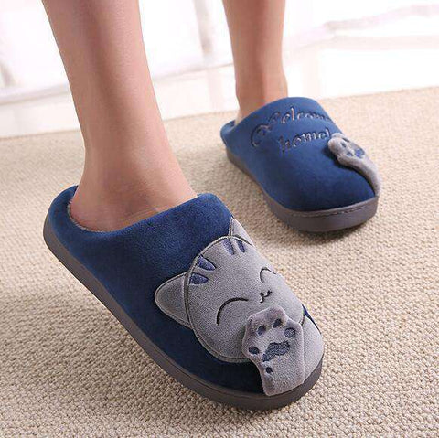 Image of The Geess blue / 11 Women Autumn Home Slippers Ladies Cartoon Cat Shoes Non-slip Soft Warm Slippers