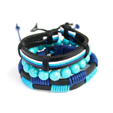 The Geess Blue / one-size Fashion Women Multilayer Handmade Wristband Leather Bracelet Bangle A