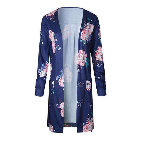 The Geess Blue / S Floral Print Basic Cardigan