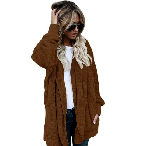 Image of The Geess Brown / M Women`s Hooded Long Coat Jacket