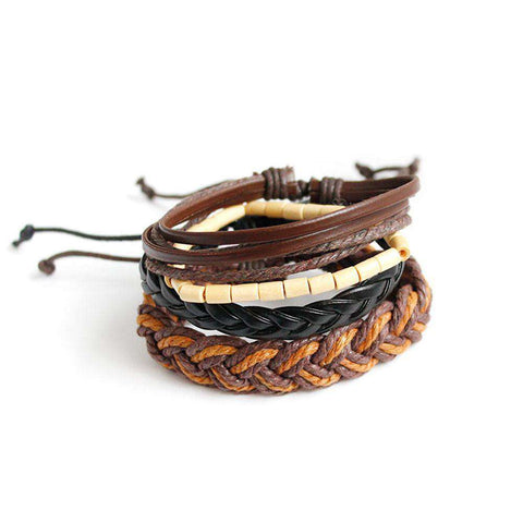 The Geess Brown / one-size Fashion Women Multilayer Handmade Wristband Leather Bracelet Bangle A
