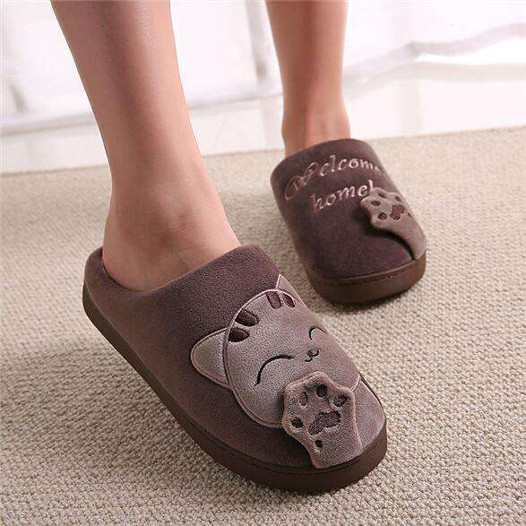 The Geess coffee / 11 Women Autumn Home Slippers Ladies Cartoon Cat Shoes Non-slip Soft Warm Slippers