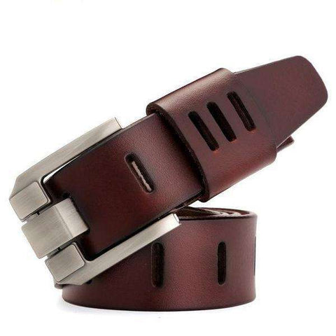 The Geess Dark Red / 100cm Military Style Genuine Leather Belt for Men