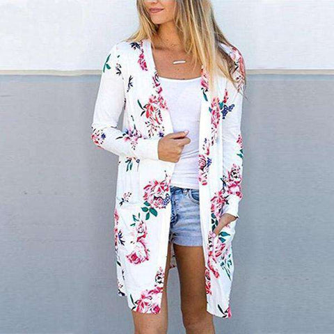 Image of The Geess Floral Print Basic Cardigan