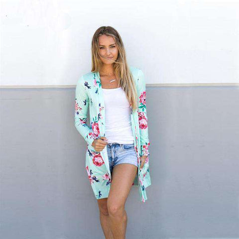 The Geess Floral Print Basic Cardigan