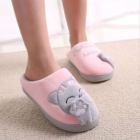 The Geess gray / 11 Women Autumn Home Slippers Ladies Cartoon Cat Shoes Non-slip Soft Warm Slippers