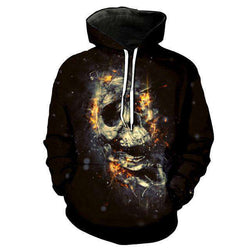 The Geess Green / L Men`s Hoodie with 3D Skull print