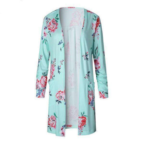 Image of The Geess Green / S Floral Print Basic Cardigan