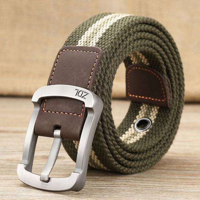 The Geess Green stripe / 110cm Men and Woman`s military belt outdoor tactical belt high quality canvas belts for jeans