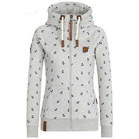Image of The Geess Grey / L Woman's Hooded Long Sleeve Pocket Sweatshirt