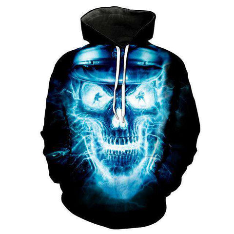 The Geess Khaki / L Men`s Hoodie with 3D Skull print
