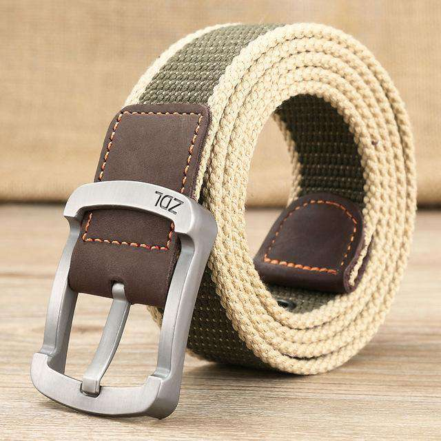 The Geess Khaki stripe 1 / 110cm Men and Woman`s military belt outdoor tactical belt high quality canvas belts for jeans
