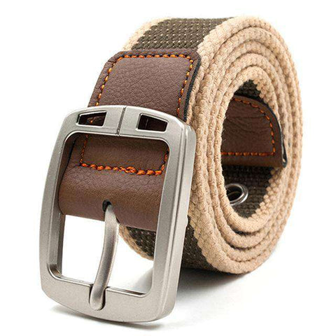 The Geess Khaki stripe 2 / 110cm Men and Woman`s military belt outdoor tactical belt high quality canvas belts for jeans