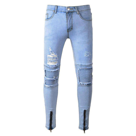 The Geess Mens Ripped Slim Fit Motorcycle Vintage Denim Jeans