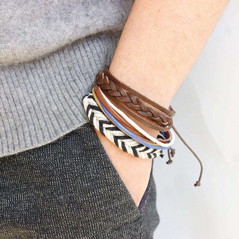 The Geess Multicolor / one-size Fashion Women Multilayer Handmade Wristband Leather Bracelet Bangle A