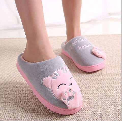 Image of The Geess pink / 11 Women Autumn Home Slippers Ladies Cartoon Cat Shoes Non-slip Soft Warm Slippers