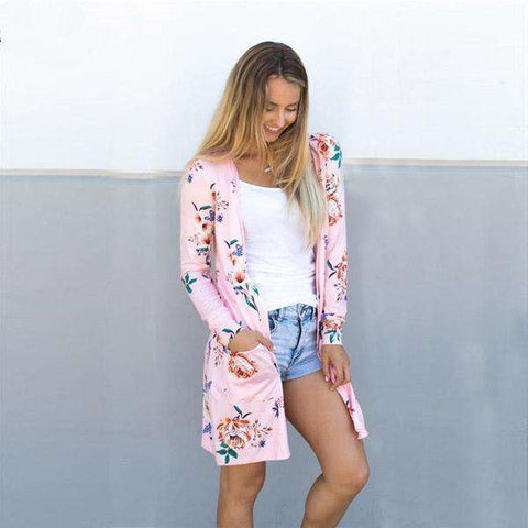 The Geess Pink / S Floral Print Basic Cardigan