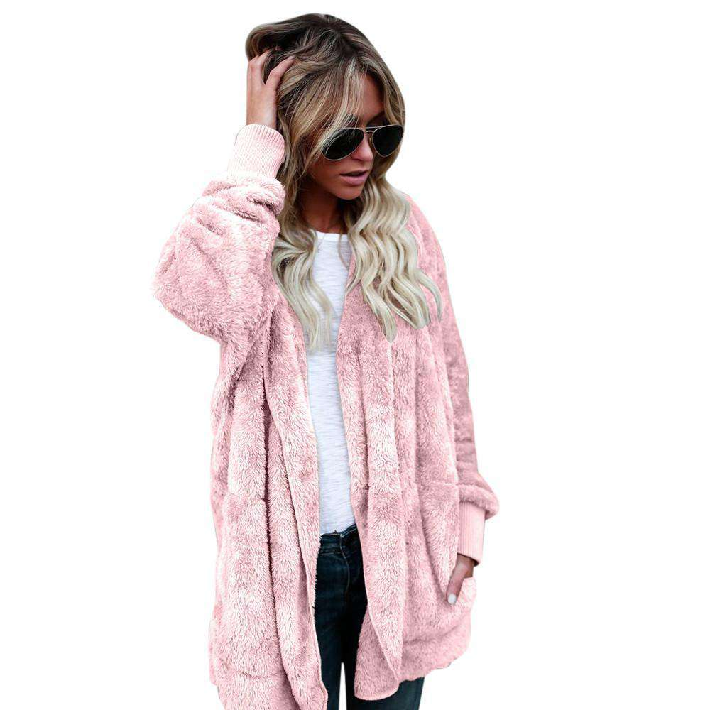 The Geess Pink / S Women`s Hooded Long Coat Jacket