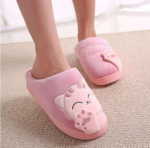 The Geess Pure pink / 11 Women Autumn Home Slippers Ladies Cartoon Cat Shoes Non-slip Soft Warm Slippers