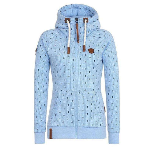 Image of The Geess Sky Blue / 5XL Woman's Hooded Long Sleeve Pocket Sweatshirt