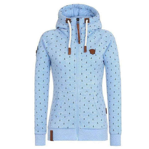 Image of The Geess Sky Blue / XL Woman's Hooded Long Sleeve Pocket Sweatshirt
