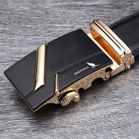 The Geess SV 1427G / 110cm Famous Brand Belt Men 100% Cow skin Genuine Luxury Leather Metal Alloy