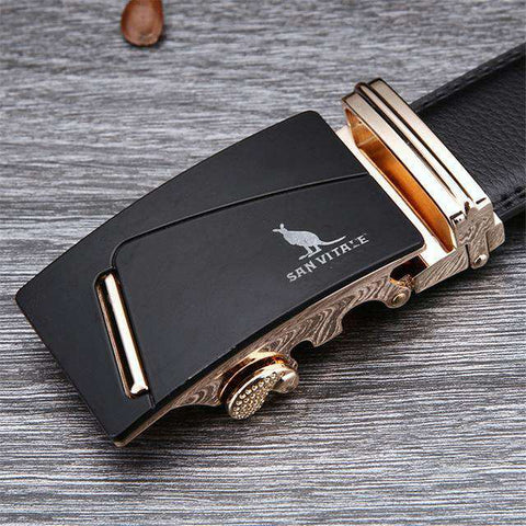 The Geess SV 1429G / 110cm Famous Brand Belt Men 100% Cow skin Genuine Luxury Leather Metal Alloy