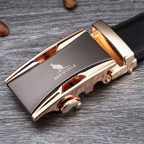 The Geess SV 1430G / 110cm Famous Brand Belt Men 100% Cow skin Genuine Luxury Leather Metal Alloy